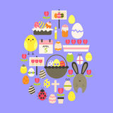 Easter Flat Icons Set Egg shaped over purple Royalty Free Stock Images