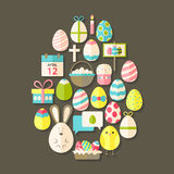 Easter Flat Icons Set Egg shaped with shadow over brown Royalty Free Stock Photo
