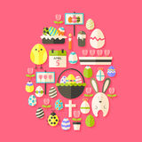 Easter Flat Icons Set Egg shaped with shadow over dark pink Stock Images
