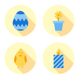 Easter flat icons set Stock Photos