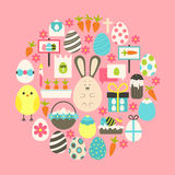 Easter Flat Icons Set over pink Stock Image