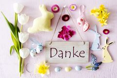 Easter Flat Lay, Danke Means Thank You Stock Image