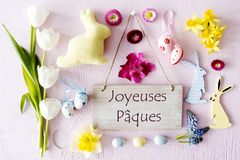 Easter Flat Lay, Joyeuses Paques Means Happy Easter Royalty Free Stock Images