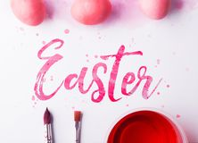 Easter flat lay on a white background. royalty free stock photography