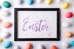 Easter flat lay on a white background. stock image