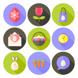 Easter flat styled circle icon set 2 with long shadow Royalty Free Stock Image