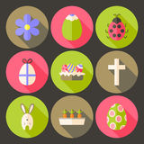Easter flat styled circle icon set 7 with long shadow Royalty Free Stock Images