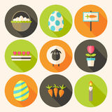 Easter flat styled circle icon set 4 with long shadow Stock Photos