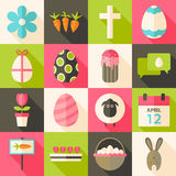 Easter flat styled icon set 3 with long shadow Royalty Free Stock Images