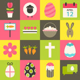Easter flat stylized icon set 3 Royalty Free Stock Photo