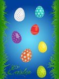Easter floral background with eggs Stock Photos