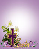 Easter floral border Cross royalty free stock photography