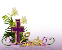 Easter floral border Cross royalty free illustration