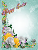 Easter Floral border roses Stock Photo