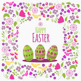 Easter  floral card with colorful eggs on white background. Can be used for easter greetings, easter icons, banners. Stock Images