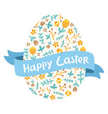 Easter floral egg greetings Stock Photos