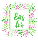 Easter floral frame Stock Photos