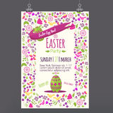 Easter  floral invitation with colorful eggs on white background. Can be used for easter greetings, easter icons Royalty Free Stock Photo