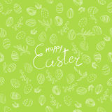Easter floral pattern with lettering in green Stock Photo
