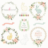 Easter Floral Wreath. A vector illustration of Easter Floral Wreath. Perfect for Easter day, Easter celebrations and greeting card Stock Images