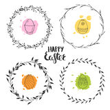 Easter floral wreaths. Set of four cute floral wreaths for Easter. Round vector wreaths isolated on white. Ornamental Easter eggs Royalty Free Stock Image