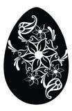 Easter Flower Egg Black Silhouette. Egg with Flower Cut Motives royalty free illustration