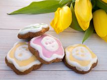 Easter flower shaped cookies Stock Image