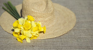 Easter flower and straw hat Stock Photography