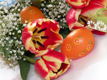 Easter Flowers And Eggs Royalty Free Stock Photography