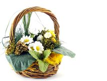 Easter flowers in a basket Stock Photos