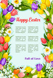 Easter flowers bunch wreath vector greeting poster Royalty Free Stock Photography
