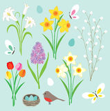 Easter flowers, butterflies and robin's nest Royalty Free Stock Images