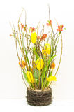 Easter flowers. Composition with tulips and green Royalty Free Stock Image