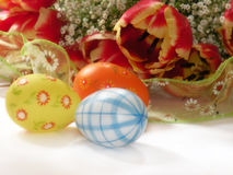 Easter flowers and eggs Stock Photos