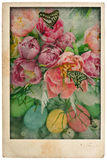 Easter flowers and eggs. vintage postcard style Royalty Free Stock Photography