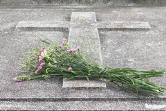 Easter,Flowers at the grave. Royalty Free Stock Images