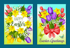 Easter flowers greeting card with floral wreath Royalty Free Stock Images