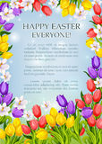 Easter flowers poster vector paschal greeting card Stock Photography