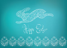 Easter folk  ornament rabbit hand-drawn typography Royalty Free Stock Photography