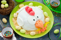 Easter fondant cake shaped chicken , delicious dessert on Easter. Party royalty free stock photos