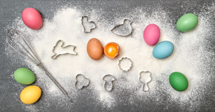 Easter food background. Cookies colored eggs Stock Image