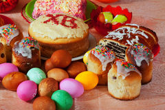 Easter food. Easter cake and eggs on festive table Royalty Free Stock Image