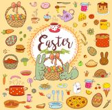 Easter food doodles. Easter holiday food in doodle style with Cute Easter Bunnes Royalty Free Stock Photo
