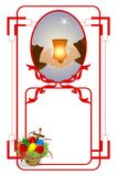 Easter frame. With hands holding a candle and basket with eggs Royalty Free Stock Image