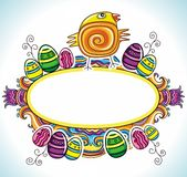 Easter Frame 5. Holiday Easter Frame with white space for your text:Cute funny Easter chick, colorful painted easter eggs. Floral elements like flowers and Stock Photography