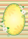 Easter frame. Easter egg shaped yellow frame or banner with flowers stock illustration