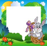 Easter frame with bunny in basket Stock Images