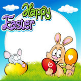 Easter frame with bunny, mouse and eggs Royalty Free Stock Photo