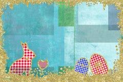 Easter frame card. Easter frame card. Rabbit and Easter eggs childlike stock photo