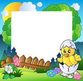 Easter frame with cute chicken Royalty Free Stock Image